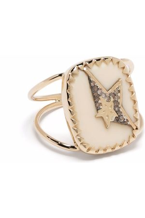 Pascale Monvoisin 9kt yellow and sterling silver Varda N°1 bakelite and diamond star ring