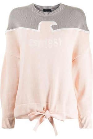 Emporio Armani Women Jumpers - Panelled embroidered-logo jumper