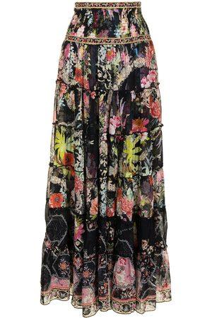 Camilla Floral-print silk maxi skirt