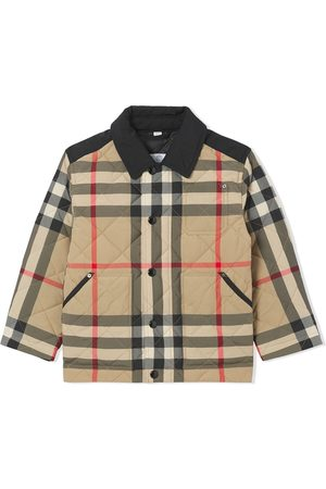 Burberry Boys Bomber Jackets - Vintage Check diamond-quilted jacket
