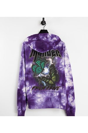 COLLUSION Sweatshirts - Unisex oversized hoodie with grunge butterfly print in tie dye
