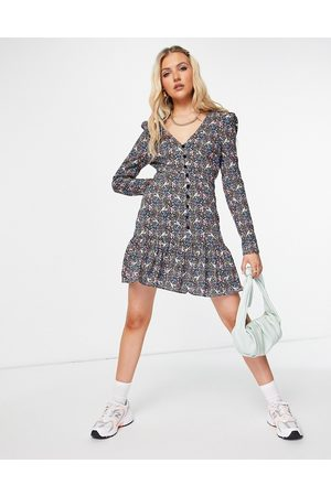 ASOS Women Casual Dresses - Button through long sleeve tea dress with frill hem in and pink floral