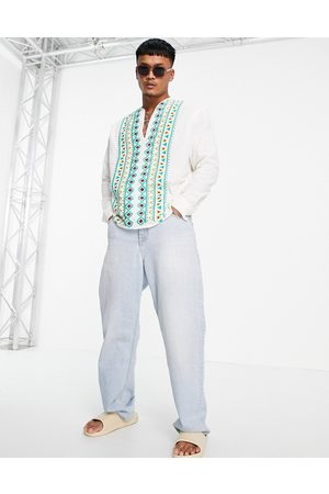 ASOS Men Shirts - Linen overhead shirt with chest placement embroidery detail