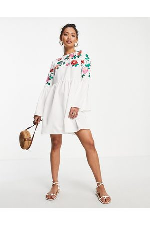 ASOS Women Evening Dresses - Fluted sleeve embroidered mini smock dress in