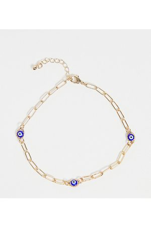 ASOS ASOS DESIGN Curve anklet with blue eye charms in tone
