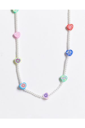ASOS Women Necklaces - Necklace with flower beads and pearls-Multi