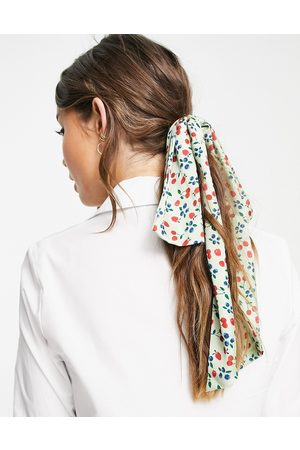ASOS Women Hair Accessories - Recycled polyester hair bow scarf in fruit print-Multi