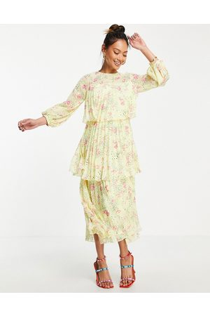 ASOS Women Printed Dresses - Pleated tiered midi dress with open back in yellow based ditsy floral print-Multi