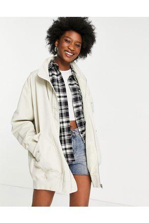 ASOS Women Jackets - Washed canvas longline jacket in stone-Neutral