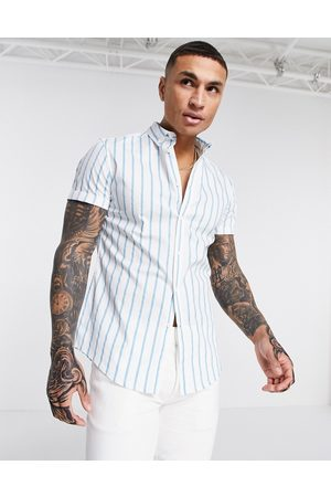 ASOS Men Short sleeves - Stretch slim button down shirt in blue and stripe