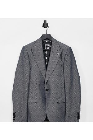 Twisted Tailor TALL suit jacket with micro geo jacquard in metallic grey