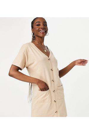 ASOS ASOS DESIGN Tall button through t-shirt dress in camel