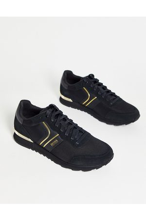 HUGO BOSS Parkour Runn trainers with suede panels in / gold