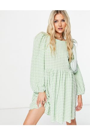 ASOS Textured mini smock dress with strappy back in green and white gingham-Multi