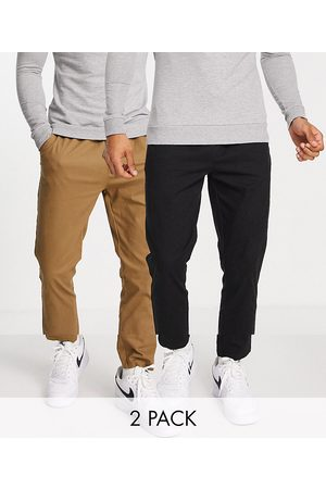 ASOS 2 pack skinny chinos with elasticated waist in brown and black-Multi