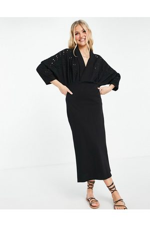 ASOS Women Casual Dresses - Maxi dress with plunging neckline and embroidered cut out detail in