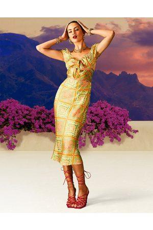 ASOS Satin cut out tie wrap around midi dress in tile print-Multi