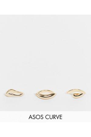 ASOS Women Rings - ASOS DESIGN Curve pack of 3 rings in mixed design in tone
