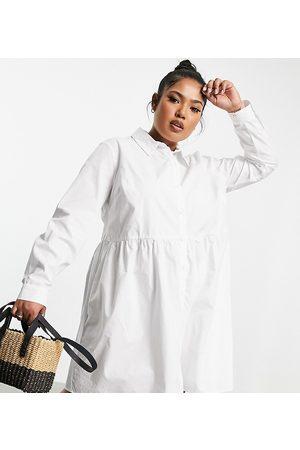 ASOS Women Casual Dresses - ASOS DESIGN Curve cotton mini smock shirt dress in