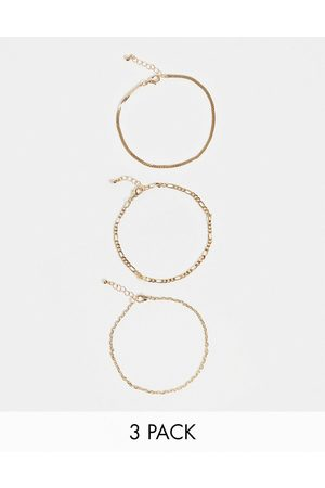 ASOS Women Anklets - Pack of 3 chain anklets in tone