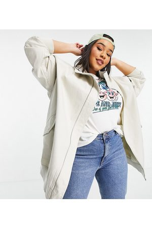 ASOS Women Jackets - Curve washed canvas longline jacket in stone-Neutral