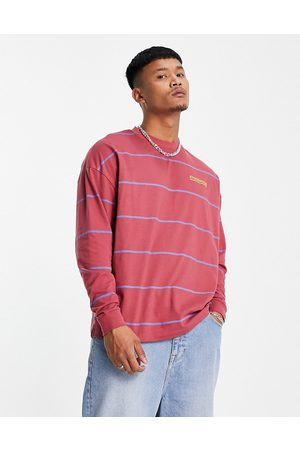 ASOS Oversized organic long sleeve stripe t-shirt in washed red with chest print