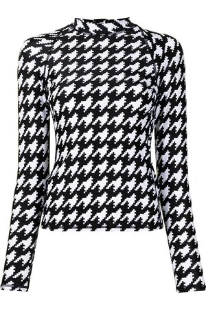 Perfect Moment Women Sports Tops - Houndstooth-print rash guard