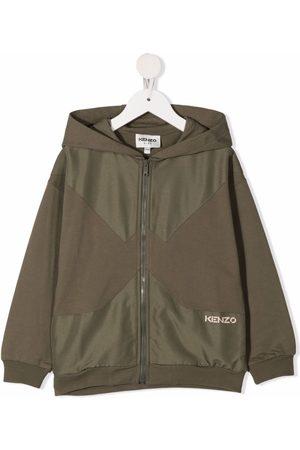 Kenzo Contrast-panel zip-up hoodie