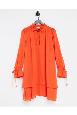 & OTHER STORIES Recycled tie neck long sleeve mini dress in orange