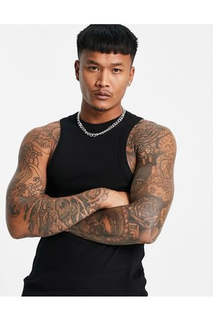 ASOS Muscle fit rib vest with racer neck in