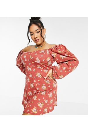 ASOS ASOS DESIGN Curve mini tea dress with long sleeves and cup detail in berry floral