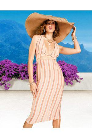 ASOS Metallic stripe twist halter midi dress in multi colour