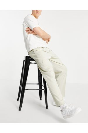 ASOS Men Cargo Pants - Oversized tapered cargo trouser in stone-Neutral