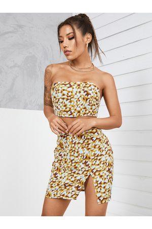 YOINS Leopard Slit Hem Design Sleeveless Tube Top & Mini Skirt Set