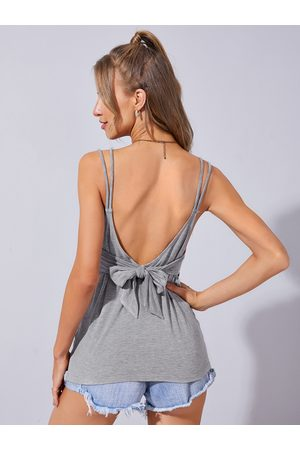 YOINS Backless Tie-up Design Double Straps V Neck Cami