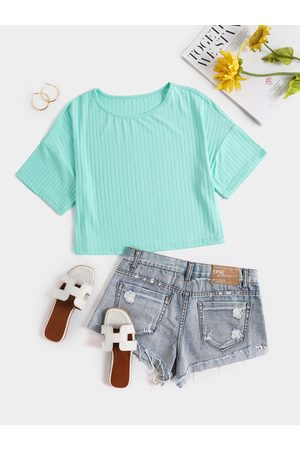 YOINS Ribbed Knit Crew Neck Short Sleeves Crop Top