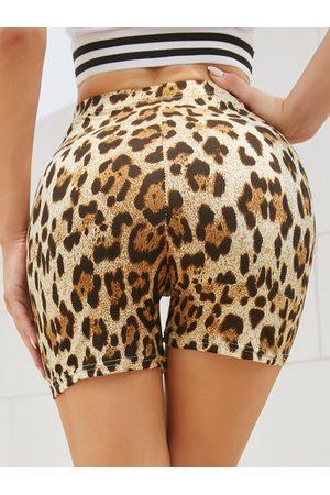 YOINS Leopard Elastic Waist Leggings Sports Shorts