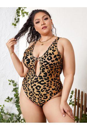 YOINS Plus Size Leopard Backless Design Criss-Cross Sleeveless Swimwear