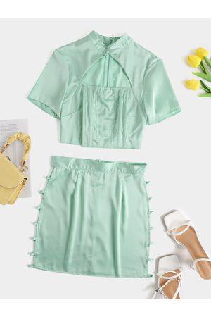 YOINS Stand Collar Cut Out Short sleeves Top & Mini Skirt Set