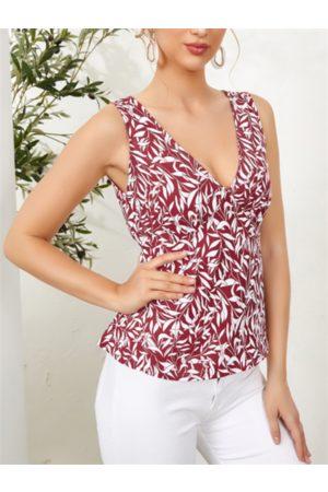 YOINS Floral Print Tie-up At Back V-neck Sleeveless Tank Top