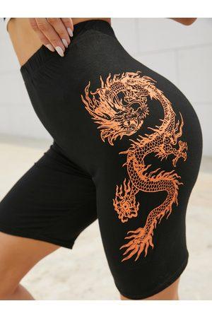 YOINS Dragon Print Five-points Leggings Sports Shorts