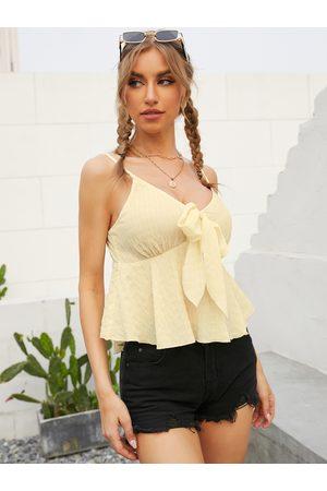 YOINS Backless Design Tie-up Design V-neck Sleeveless Cami