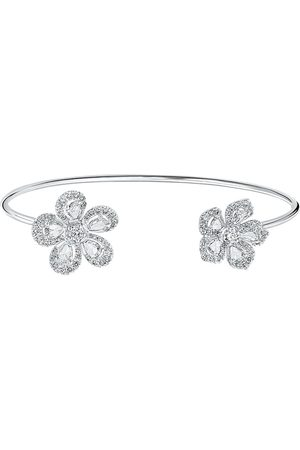 David Morris 18kt white gold diamond Miss Daisy Double Flower bracelet