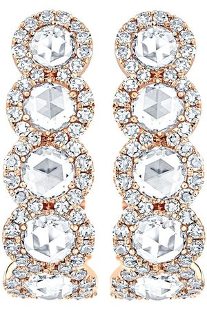 David Morris 18kt rose gold Rose Cut diamond size 2 hoops