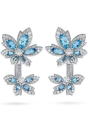David Morris 18kt white gold Palm Double Flower Aquamarine earrings