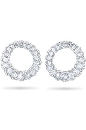 David Morris Women Earrings - 18kt white gold diamond medium curved Rose Cut hoop earrings