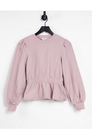 Miss Selfridge Women Long Sleeve - Long Sleeve Shirred Peplum Sweatshirt in mink