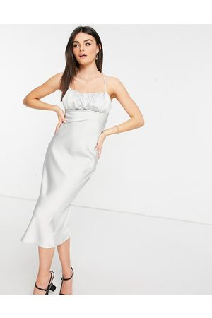 ASOS Women Casual Dresses - Satin midi slip dress with ruched bust detail and lace up back