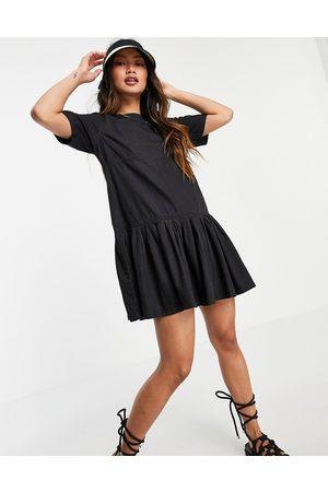 ASOS DESIGN Soft denim smock t-shirt dress in washed