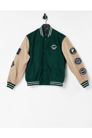 ASOS DESIGN Men Leather Jackets - Leather varsity jacket in with badging and contrast sleeves